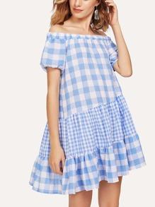 Off Shoulder Ruffle Hem Gingham Dress
