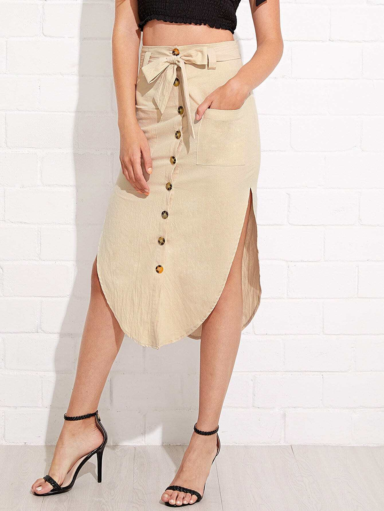 Button Up Front Pocket Asymmetrical Skirt With Knot Waist unedged button fly asymmetrical skirt