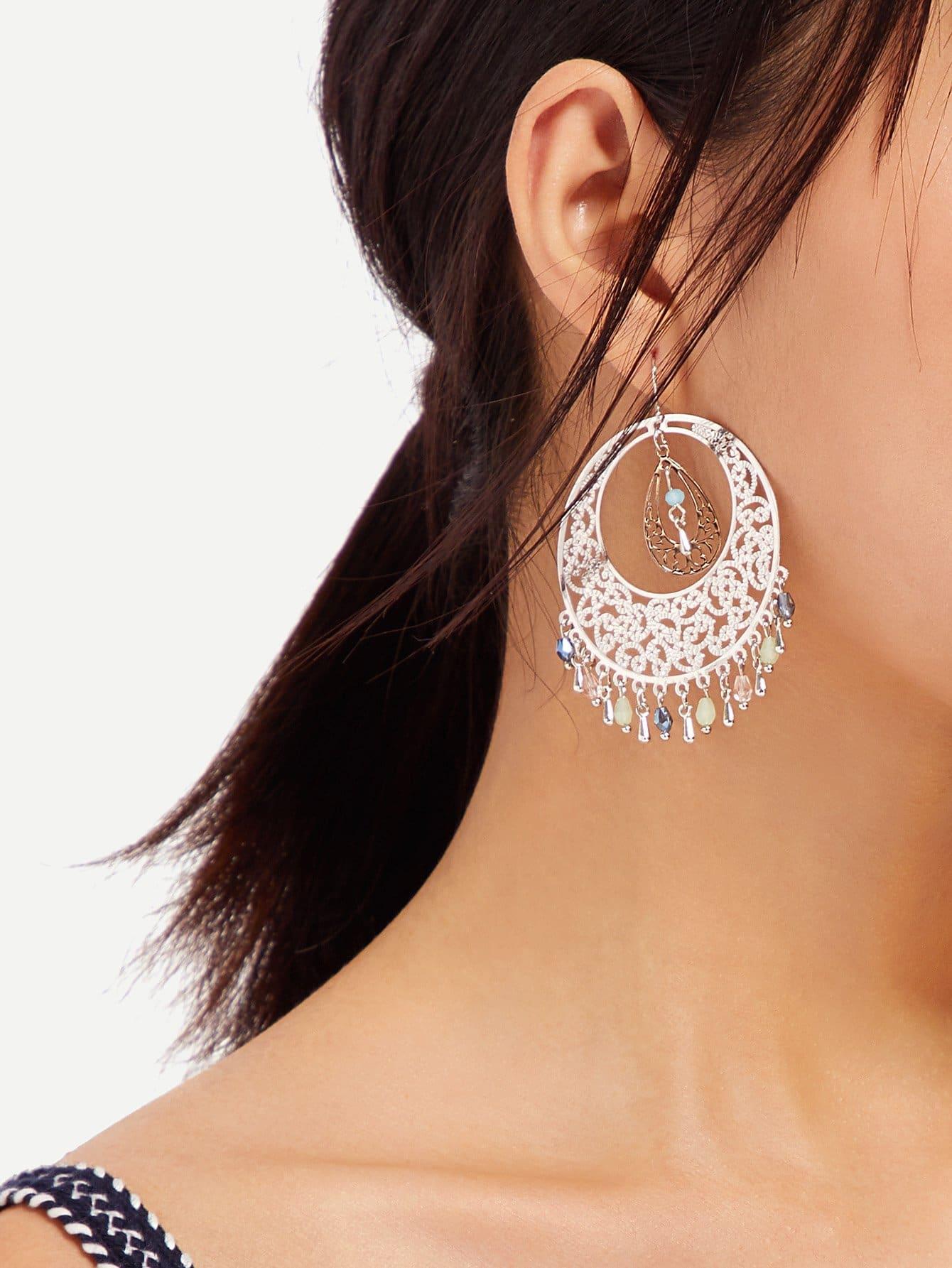 Fringe Hem Statement Earrings