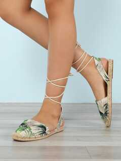 Palm Print Closed Toe Espadrille Trim Ankle Wrap Sandal