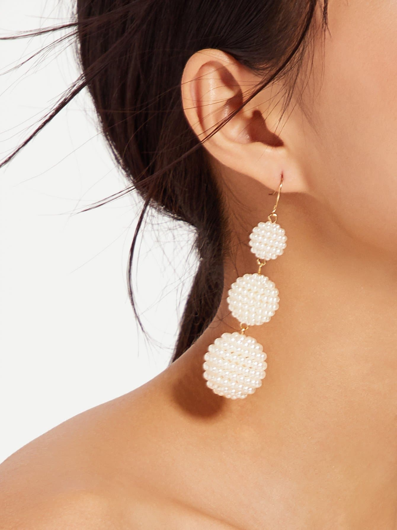 Faux Pearl Ball Drop Earrings faux pearl ball drop earrings