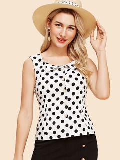 Fold Down Lapel Polka Dot Fitted Blouse