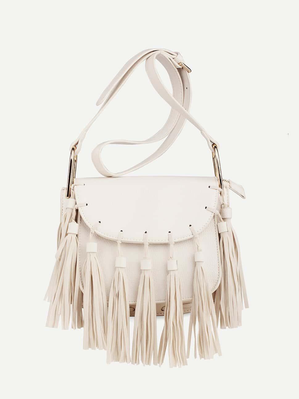 Tassel Decorated Flap Crossbody Bag tassel decorated velvet chain flap bag