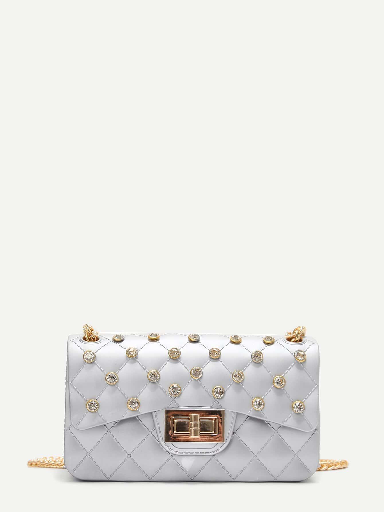 Twist Lock Quilted Chain Bag With Rhinestone 120cm 47 bronze twist o ring bag chain diy metal purse strap 20pcs freeshipping
