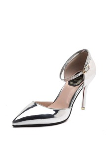 Pointed Toe Ankle Strap PU Heels