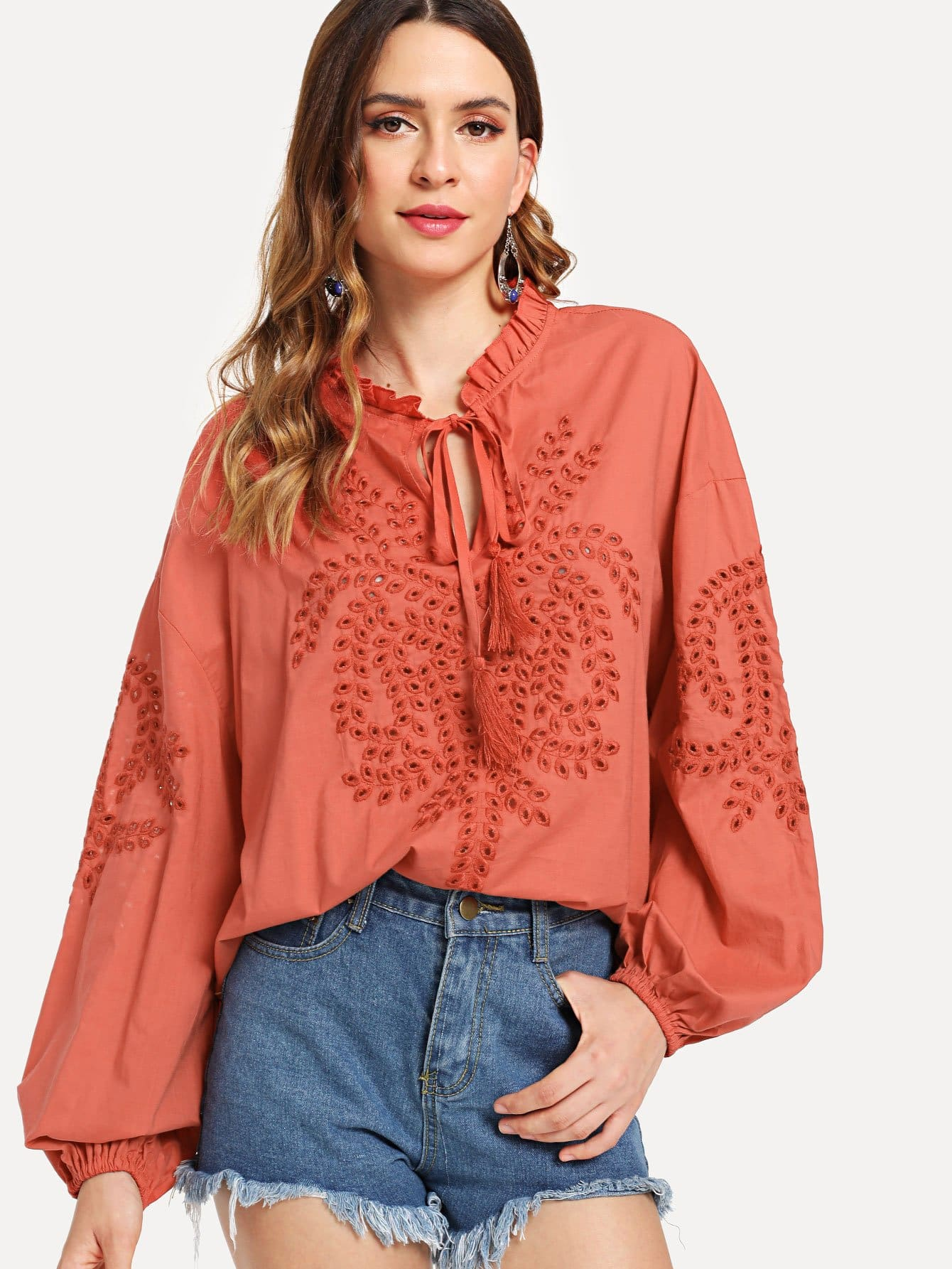 Front Tie Frilled Neck Embroidered Top button front frilled detail top