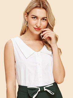 Pointed Collar Sleeveless Blouse