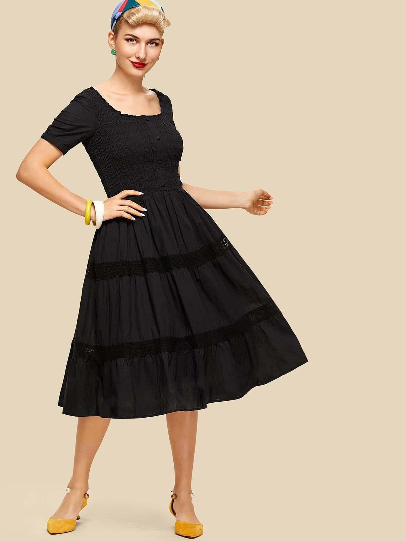 Button Up Front Tiered Ruffle Hem Dress все цены