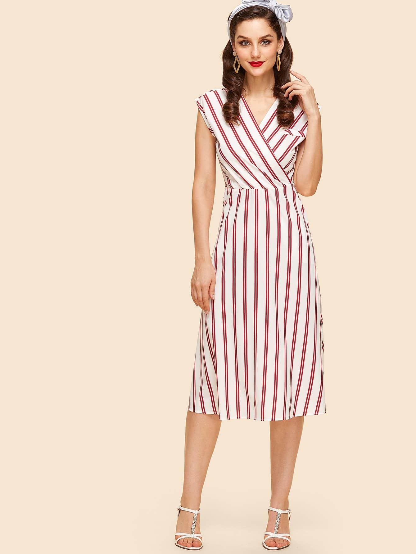 Overlap Front Striped Dress overlap front m slit velvet dress