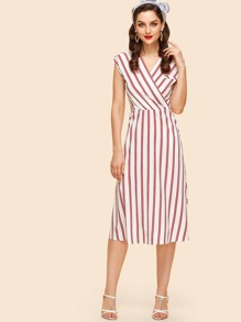 Overlap Front Striped Dress