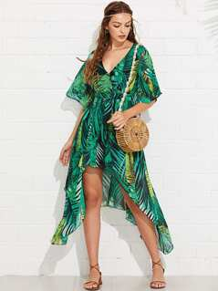 Tropical Print Bell Sleeve Asymmetric Dress