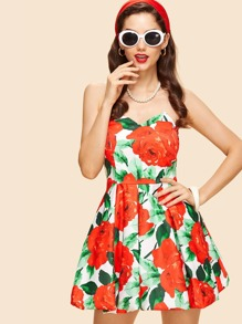 Flower Print Fit & Flare Tube Dress