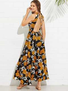 Botanical Print Halter Dress