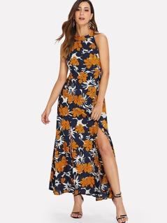 Botanical Print Halter Dress