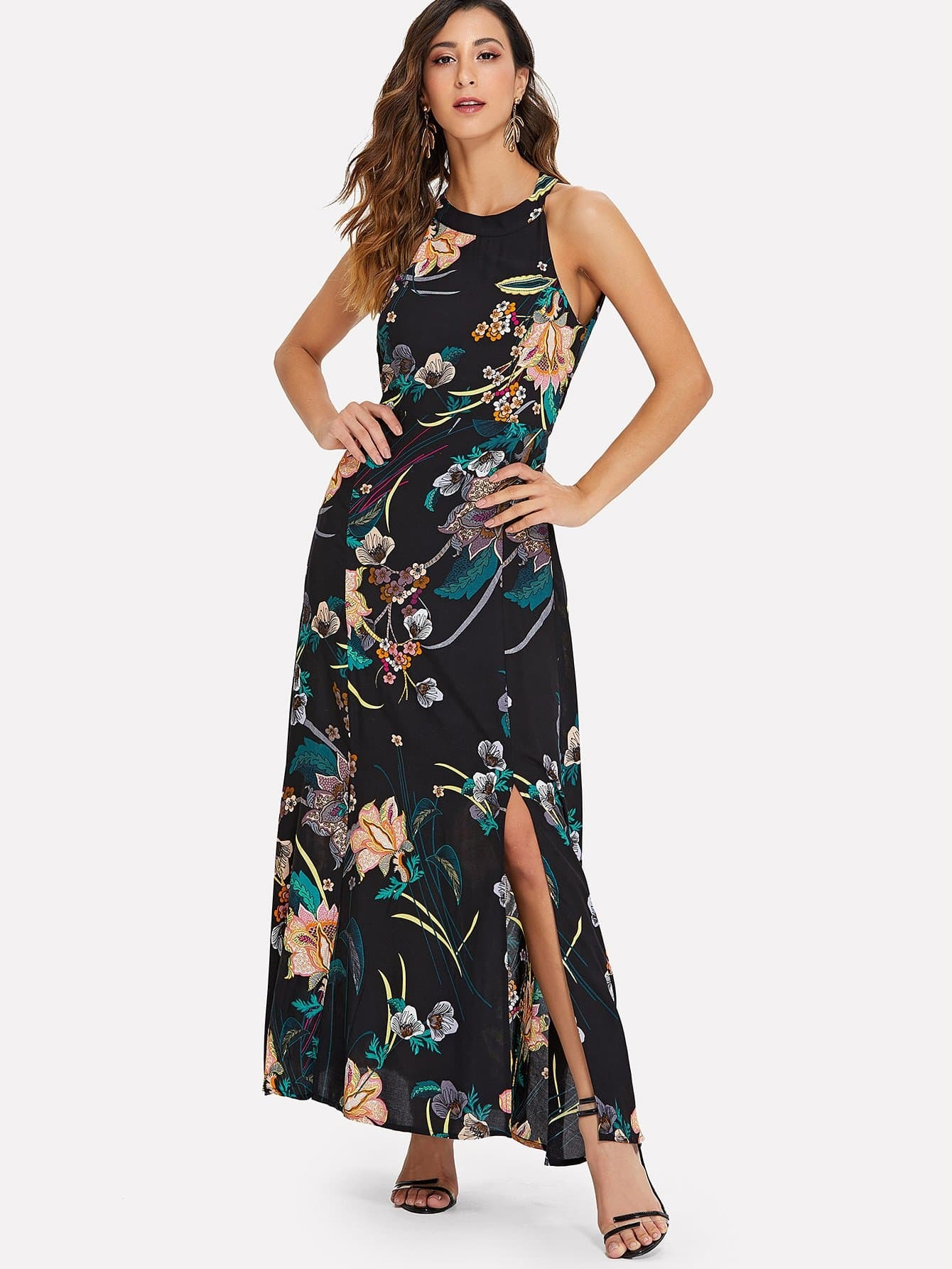 Botanical Print Halter Dress scalloped edge botanical print dress