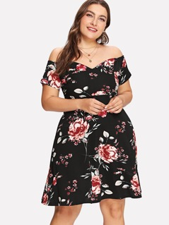 Plus Flower Print Off Shoulder Dress