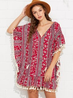 Tassel Tie Tribal Print Batwing Dress