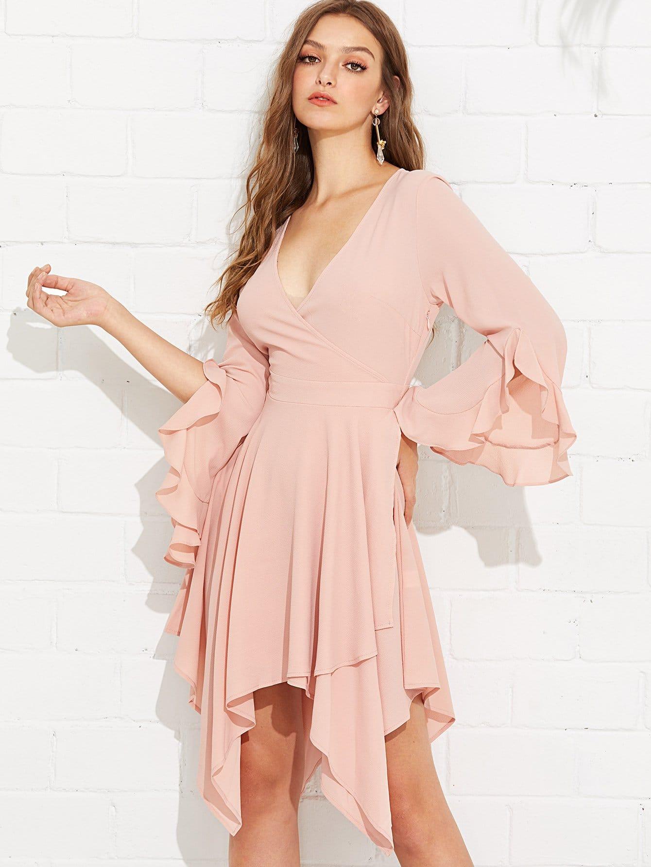 Ruffle Bell Sleeve Hanky Hem Wrap Dress high slit hanky hem metallic halter dress