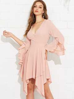 Ruffle Bell Sleeve Hanky Hem Wrap Dress