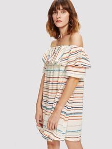 Flounce Off Shoulder Striped Dress