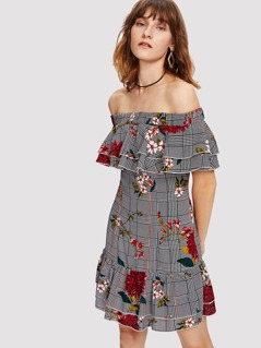 Layered Flounce Detail Mixed Print Bardot Dress