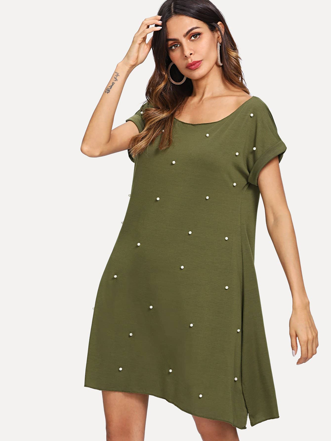 Pearl Beading Tee Dress pearl beading fishnet dress without lingerie set