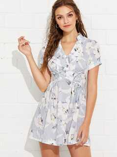 Button Front Knot Detail Floral Dress