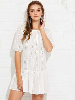 Bishop Sleeve Ruffle Hem Cutout Dress