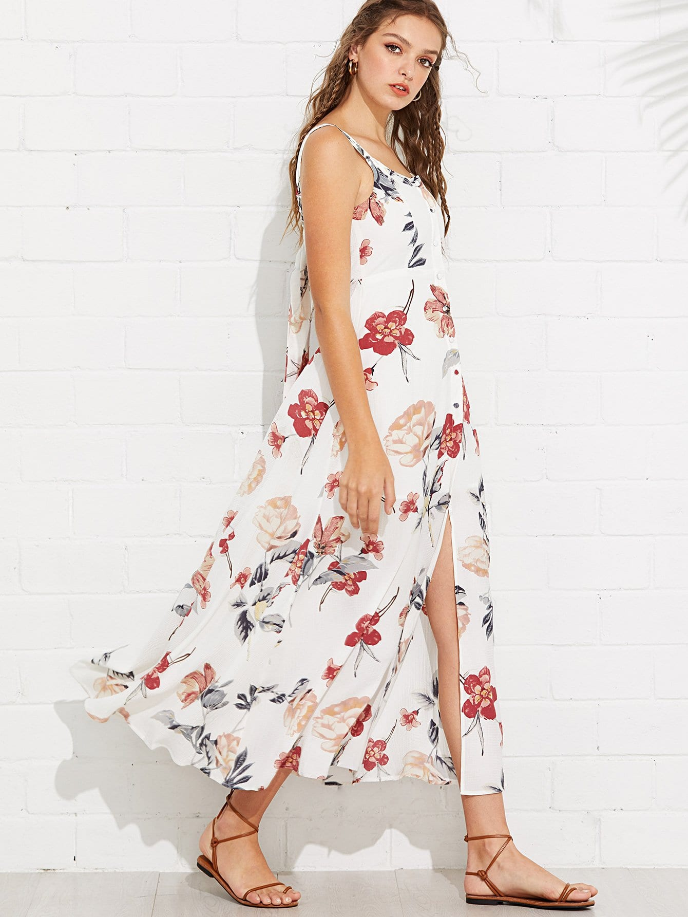Button Up Fit & Flare Floral Dress button up v neck fit and flare dress