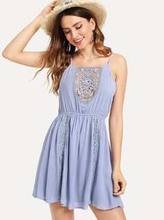 Lace Insert Fit & Flare Cami Dress