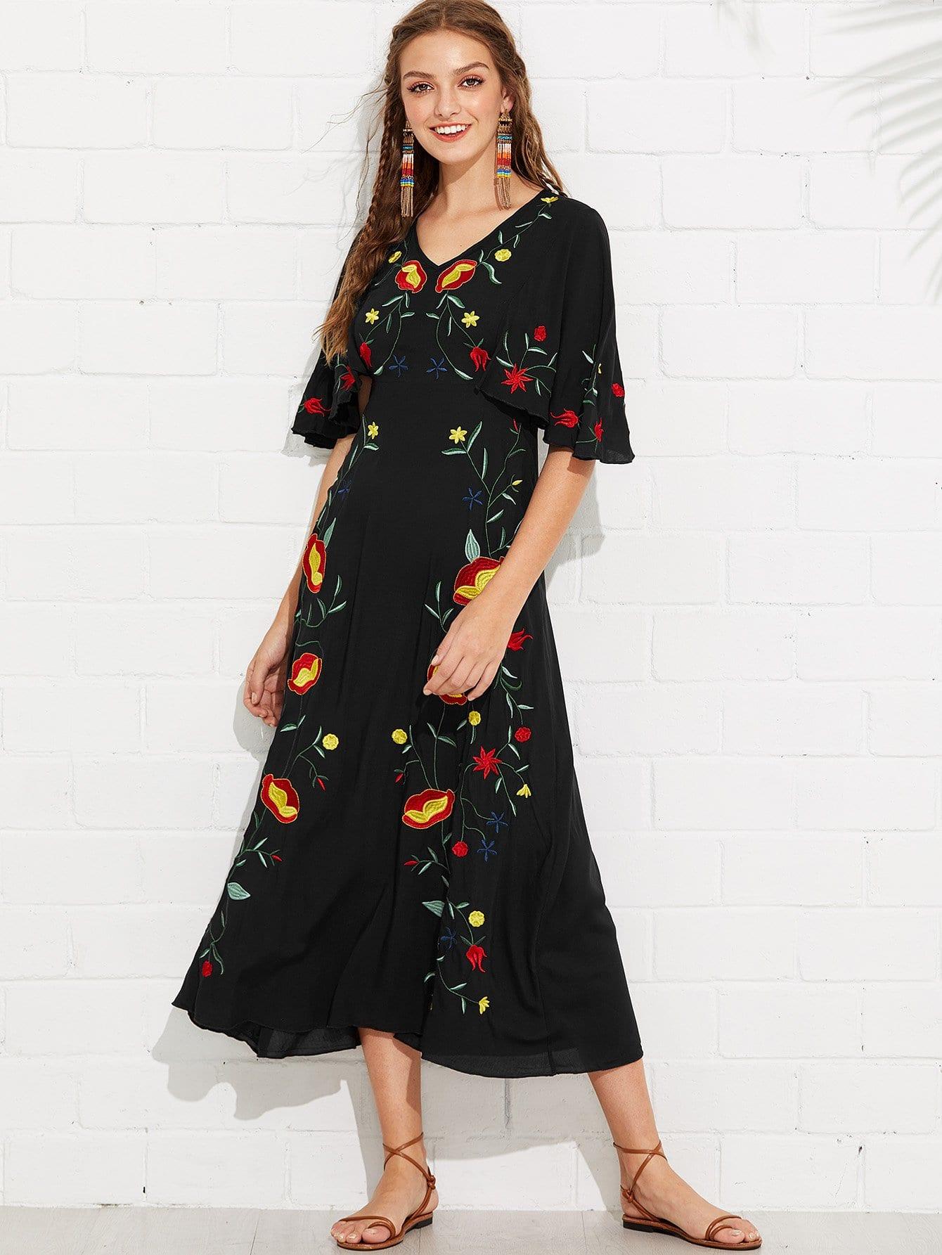 Купить Платье с вышивкой из флаттера с вышивкой, Luiza, SheIn