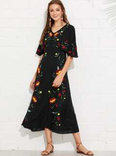Flutter Sleeve Flower Embroidered Dress