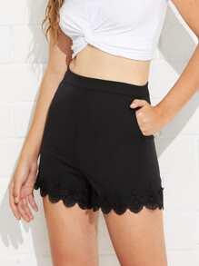 Lace Trim Straight Leg Shorts