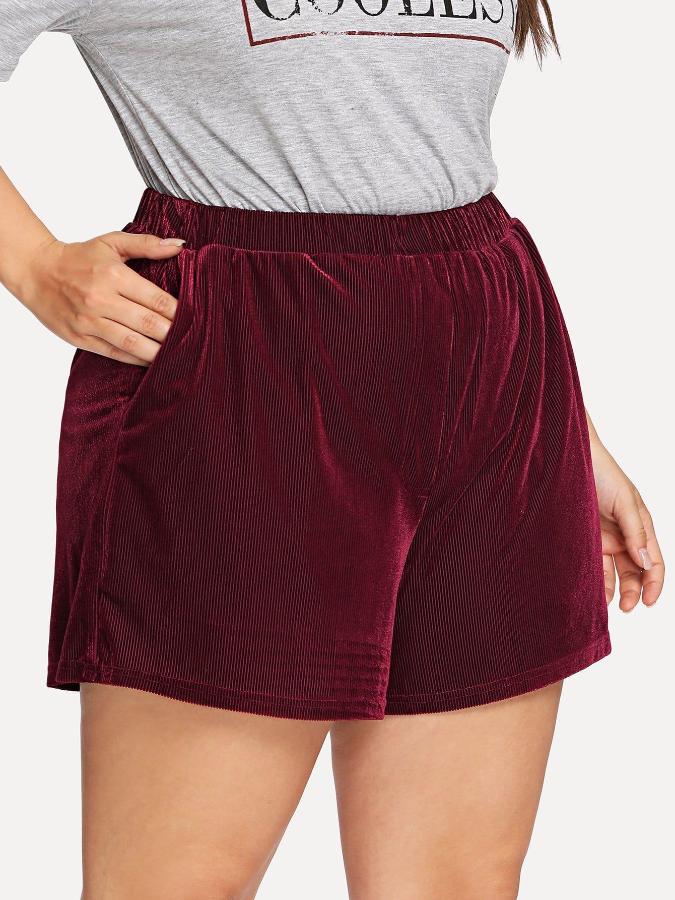 Plus Elastic Waist Ribbed Velvet Shorts burgundy mini elastic velvet high waist lace up front shorts