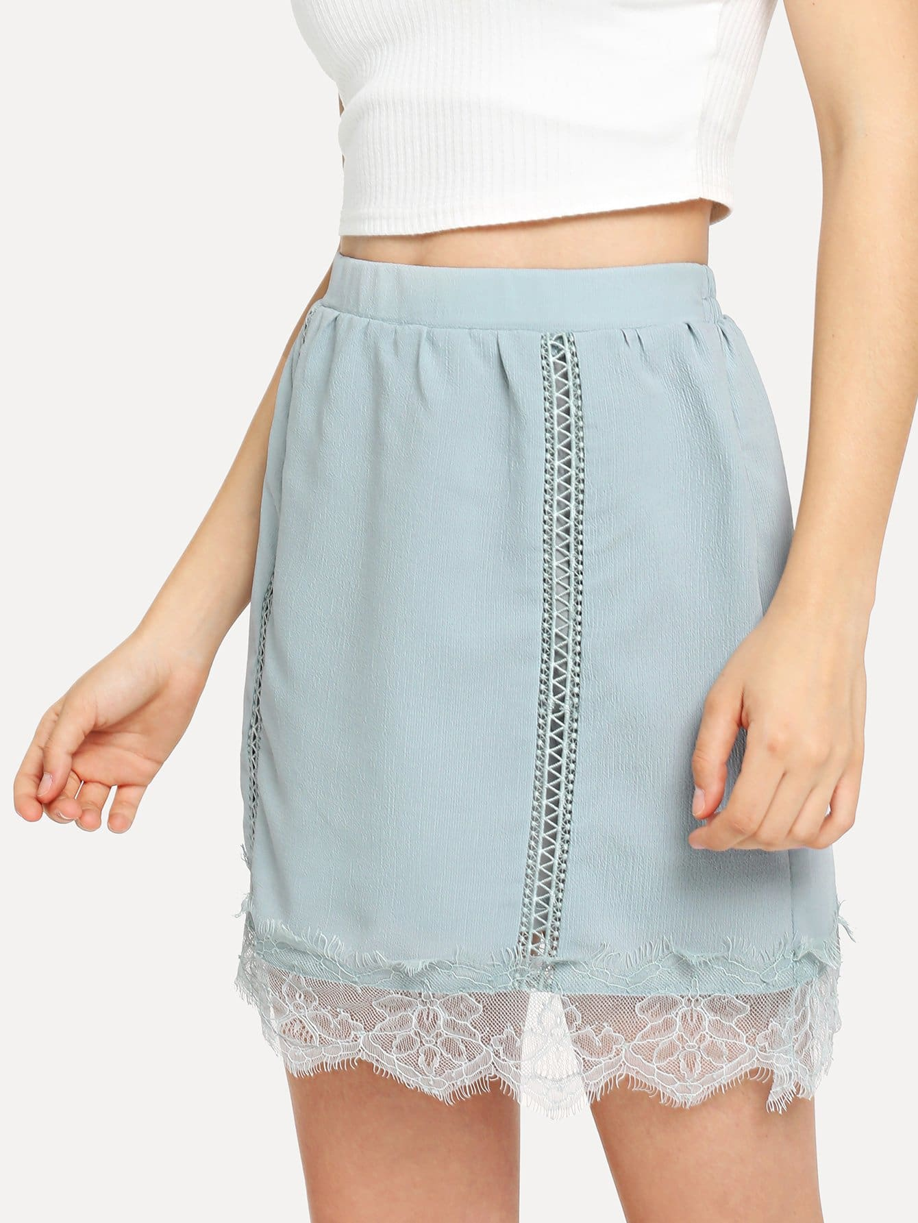 Elastic Waist Lace Insert Skirt lace insert fitted faux leather skirt
