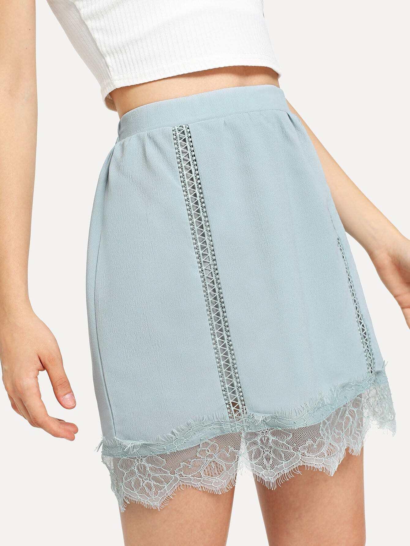 Elastic Waist Lace Insert Skirt