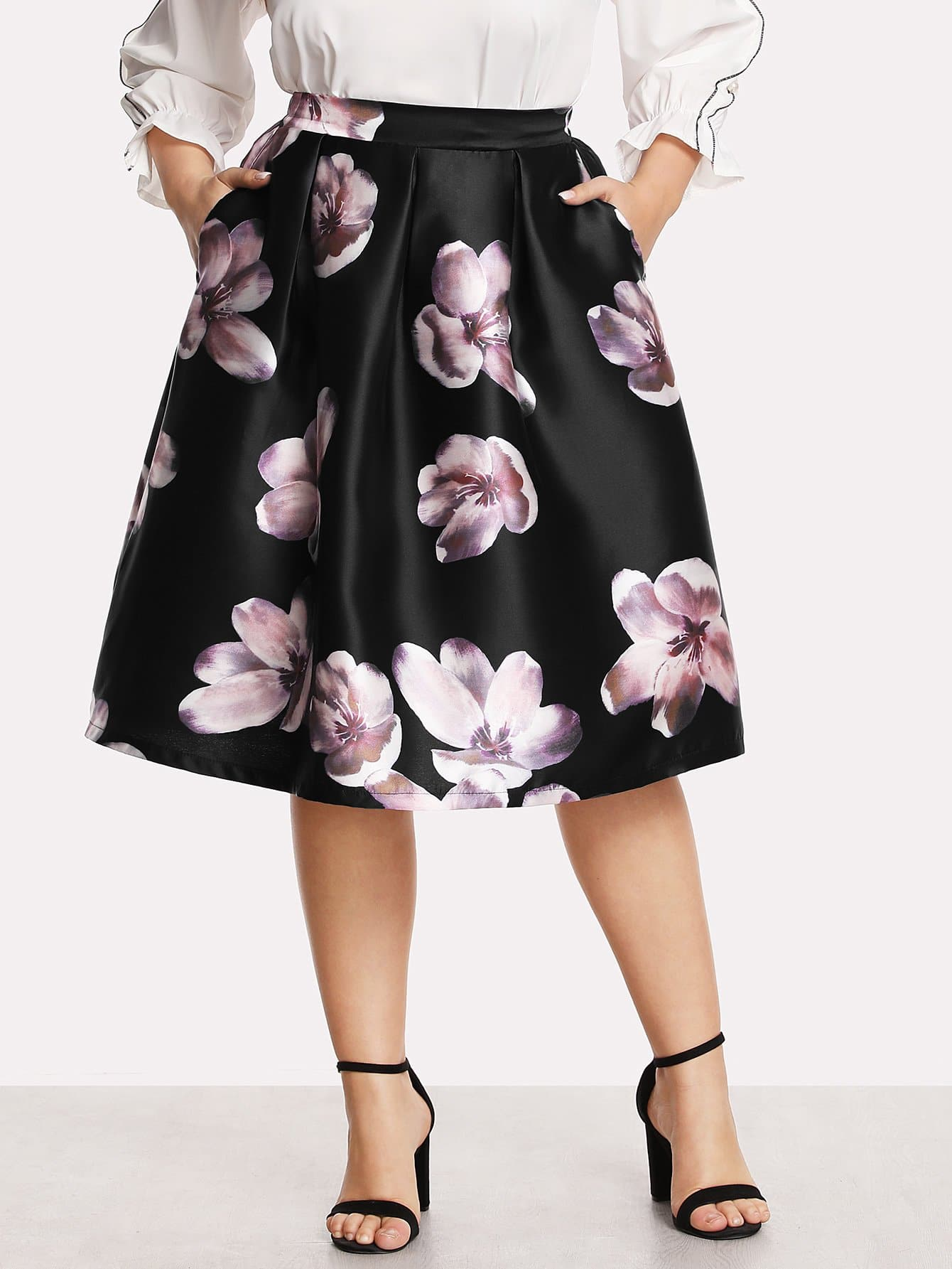 все цены на Plus Box Pleated Floral Volume Skirt