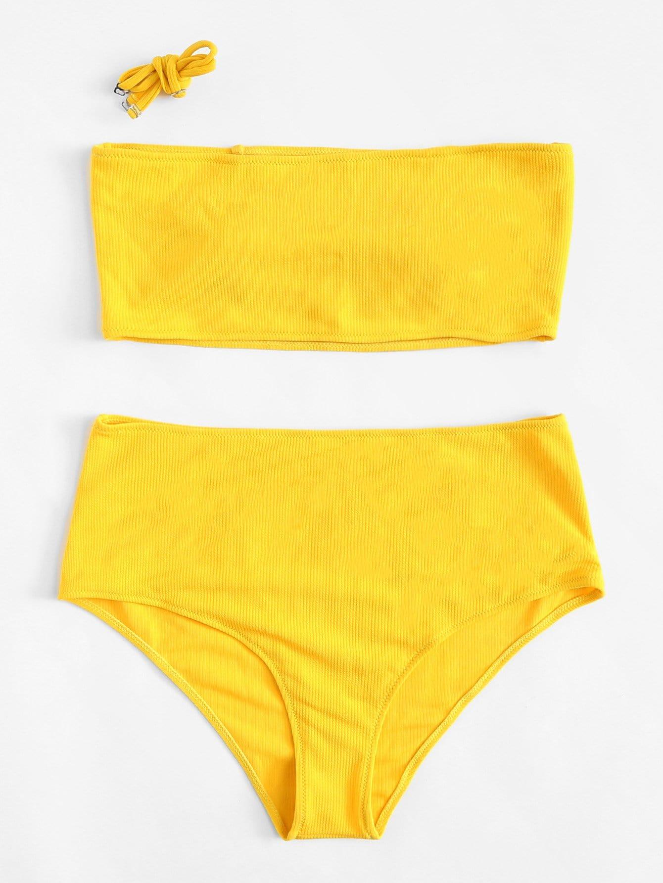 Plus Solid Rib Knit Bikini Set rib knit tights