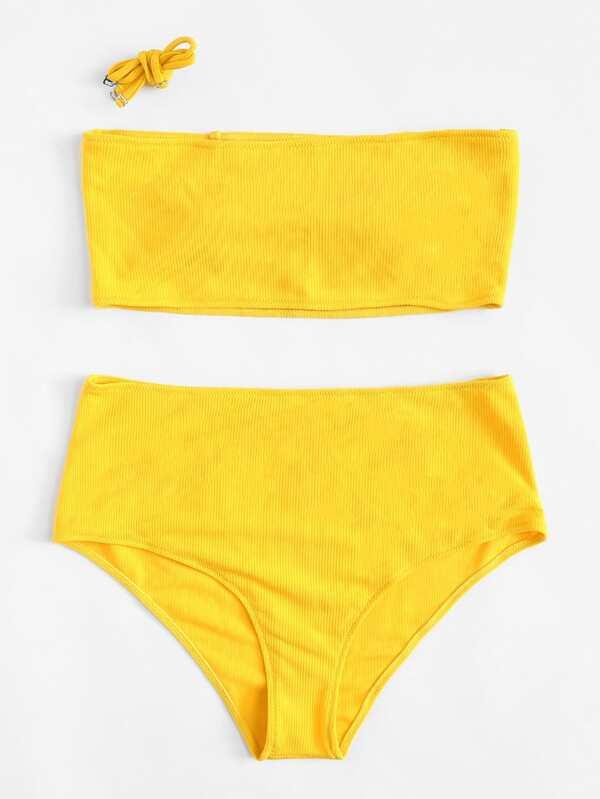 Solid Rib Knit Bikini Set by Shein