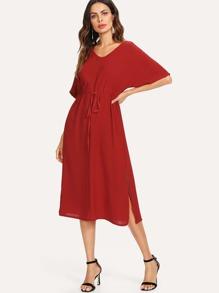 Split Side Drawstring Waist Dress