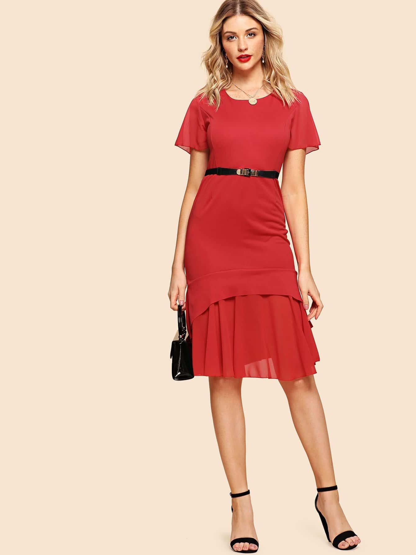Ruffle Hem Chiffon Contrast Dress stripe contrast ruffle hem hooded dress