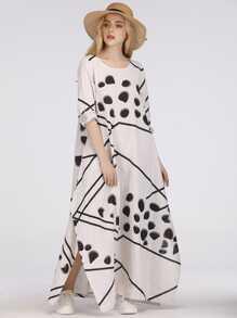 Split Side Graphic Print Longline Dress