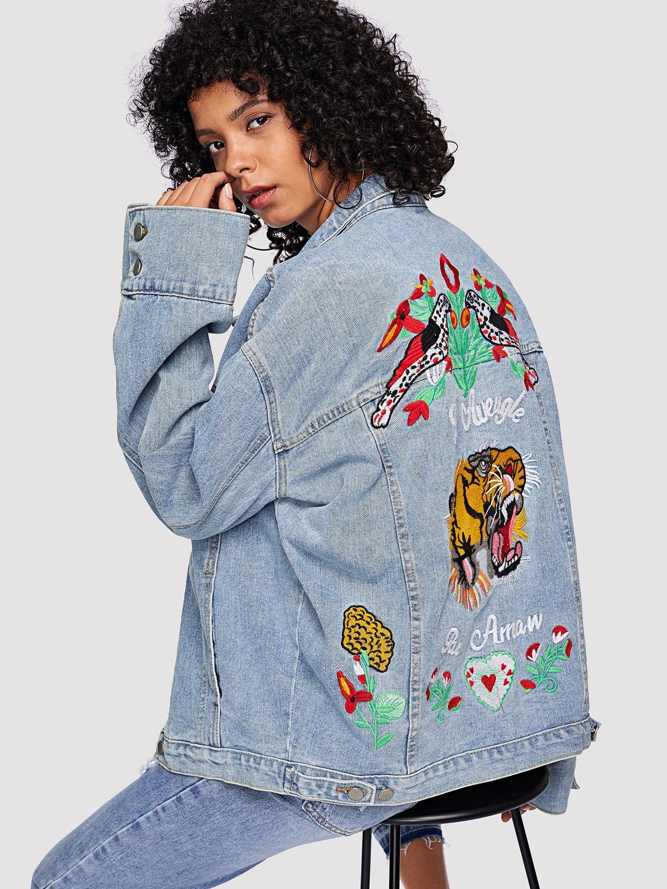 Animal Embroidered Drop Shoulder Denim Jacket letter print drop shoulder denim jacket