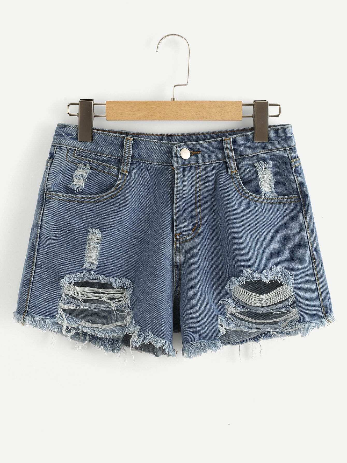 Frayed Hem Ripped Denim Shorts stud earrings modis m181a00813 women earring jewelry decoration for female tmallfs