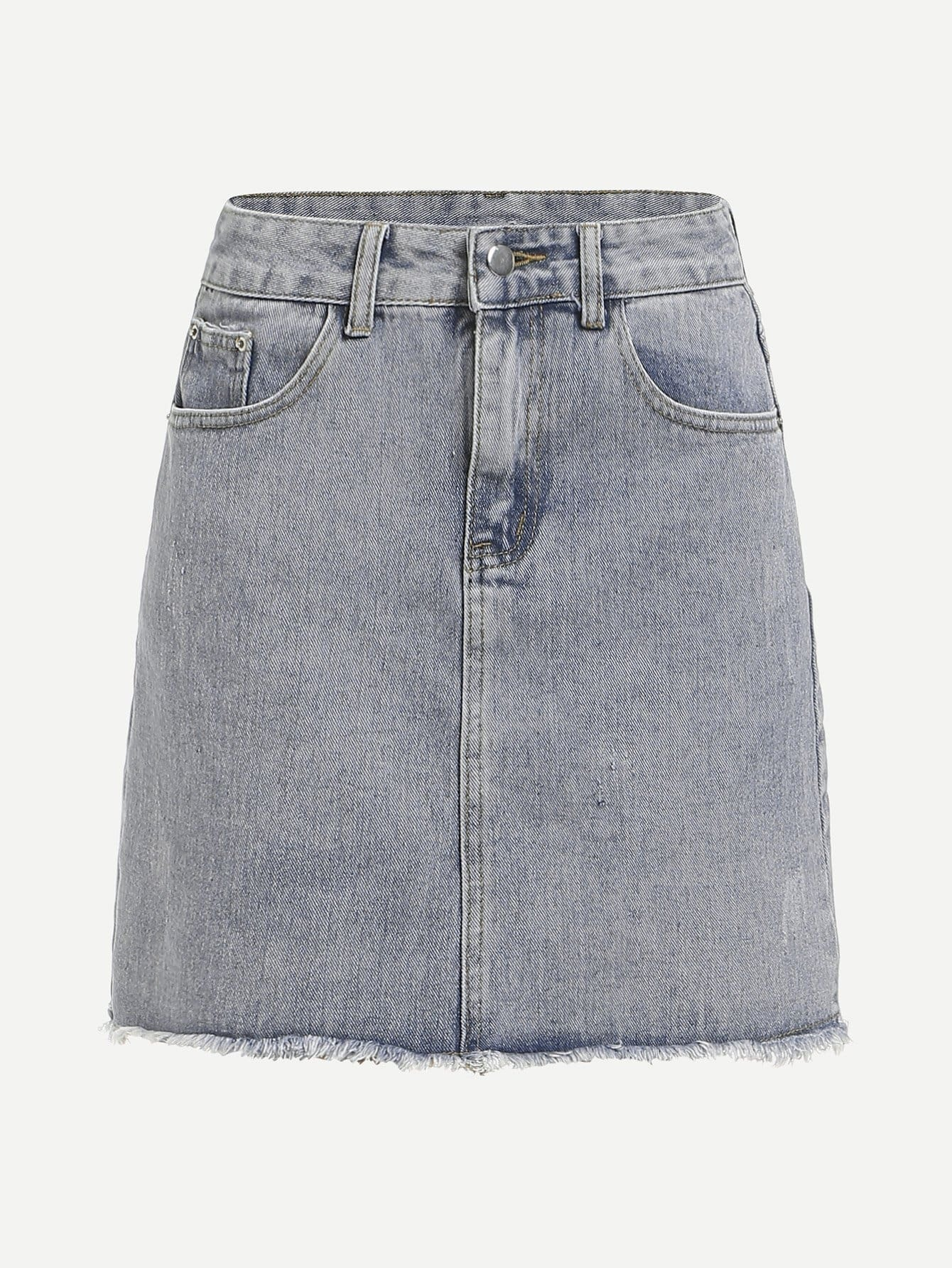 Bleach Wash Raw Hem Denim Skirt lace up raw hem bleach wash hot pants