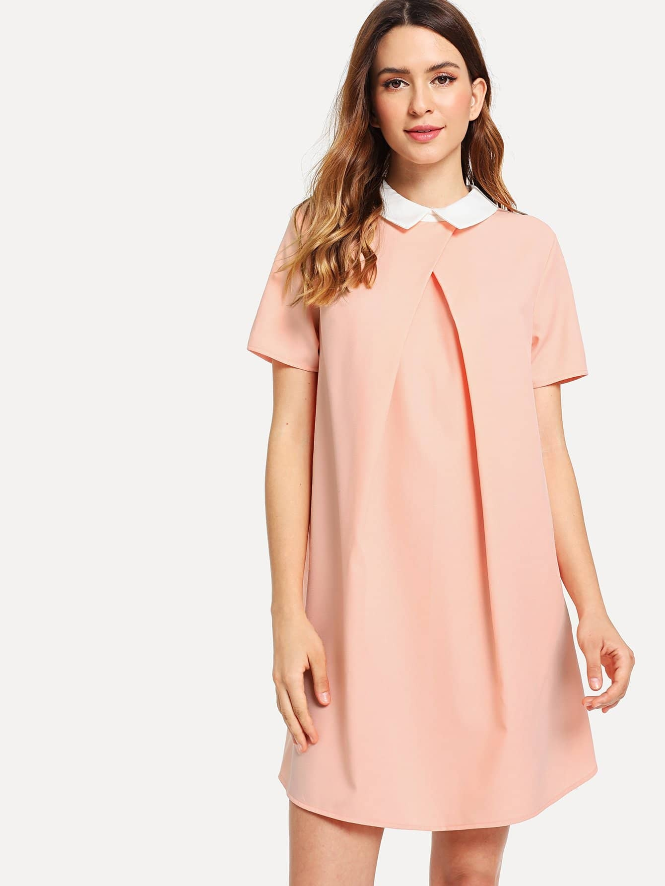 Contrast Collar Foldover Front Dress contrast collar foldover front dress