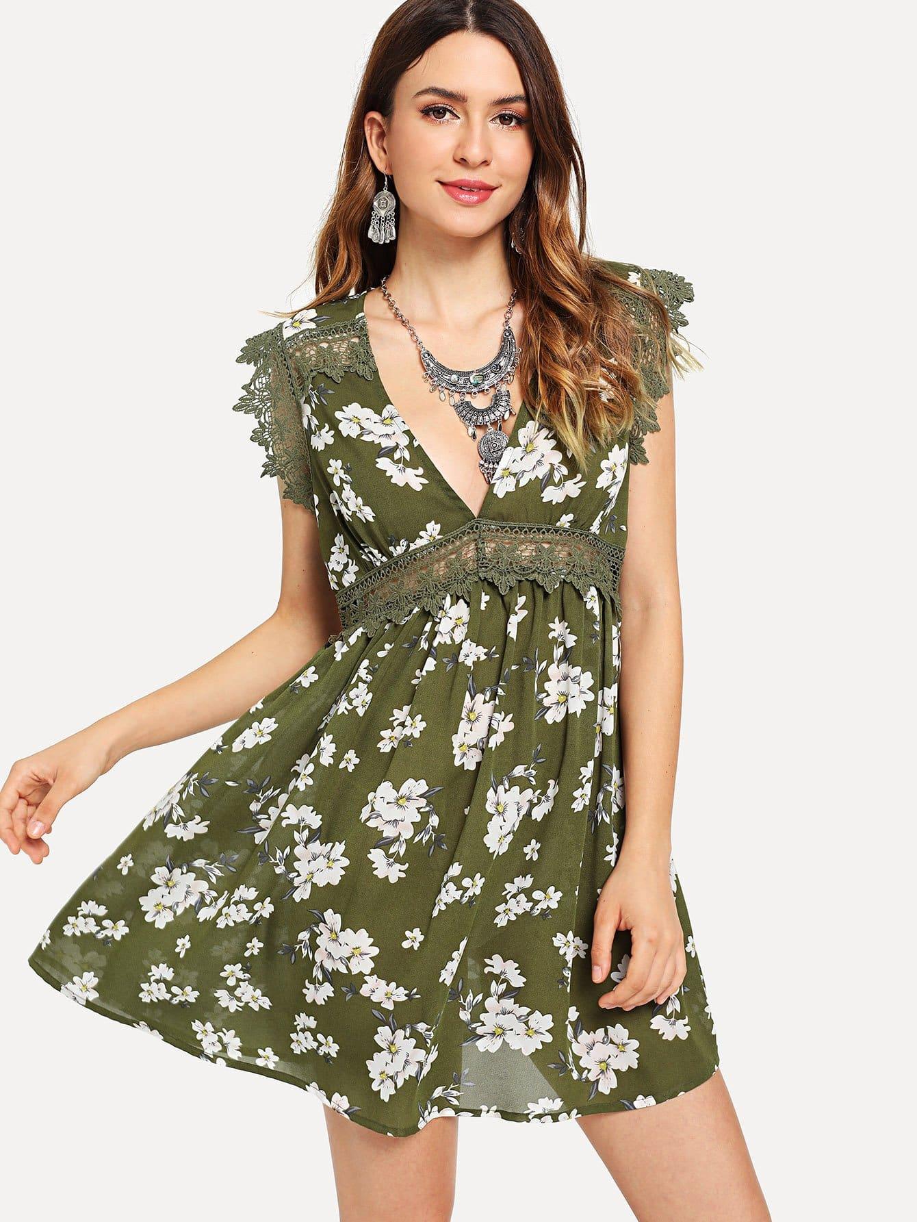 Guipure Lace Trim Floral Swing Dress