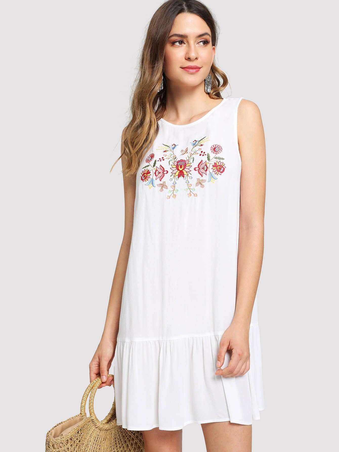 Flower Embroidered Keyhole Back Ruffle Hem Dress scallop ruffle hem buttoned keyhole back shell top