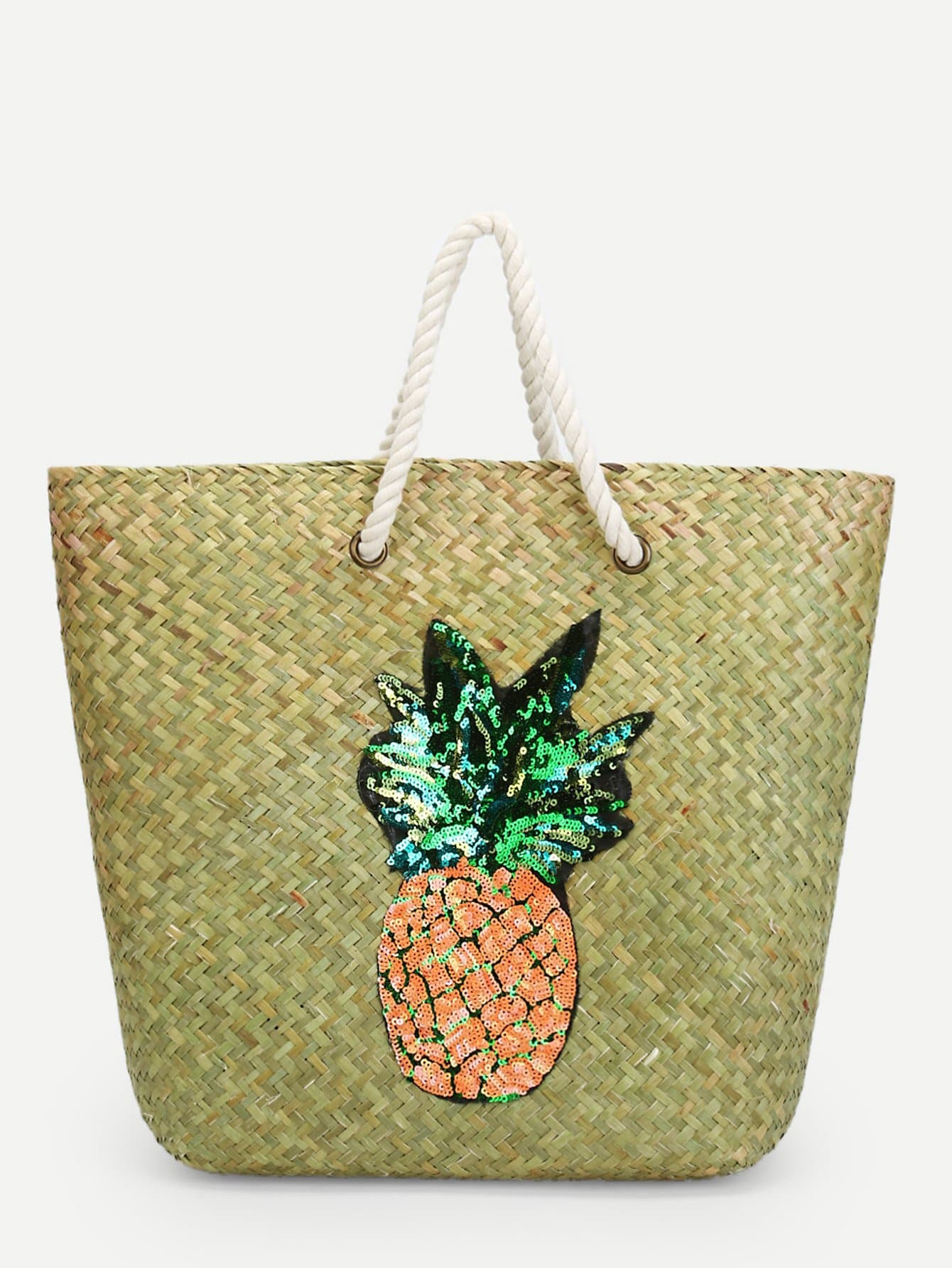 Pineapple Pattern Straw Tote Bag palm tree pattern straw chain bag
