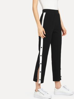 Contrast Snap Button Side Pants